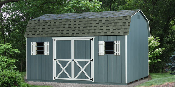 blue amish shed for sale in baltimore with asphalt shingles