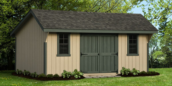 quality amish built shed with asphalt shingles and double front door